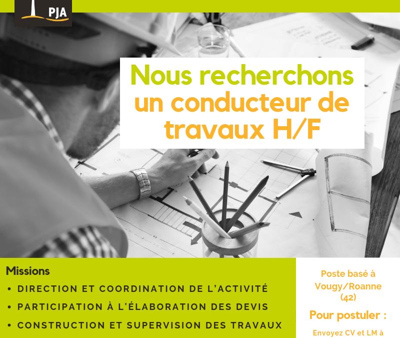 OFFRE D'EMPLOI : CONDUCTEUR DE TRAVAUX (H/F) VOUGY 42720