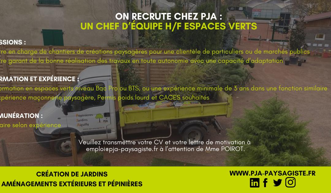 Offre d'emploi : Chef d'équipe H/F Espaces Verts CDI 35H